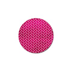 Brick2 White Marble & Pink Leather Golf Ball Marker (10 Pack) by trendistuff