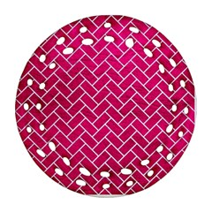 Brick2 White Marble & Pink Leather Ornament (round Filigree)