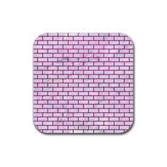 Brick1 White Marble & Pink Leather (r) Rubber Coaster (square)