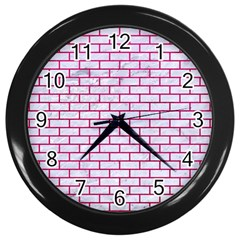 Brick1 White Marble & Pink Leather (r) Wall Clocks (black) by trendistuff