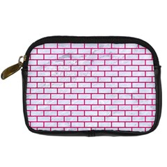 Brick1 White Marble & Pink Leather (r) Digital Camera Cases