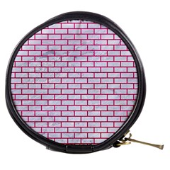 Brick1 White Marble & Pink Leather (r) Mini Makeup Bags