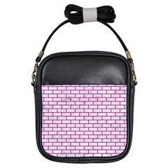 Brick1 White Marble & Pink Leather (r) Girls Sling Bags