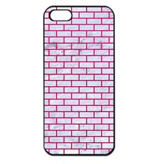 Brick1 White Marble & Pink Leather (r) Apple Iphone 5 Seamless Case (black) by trendistuff