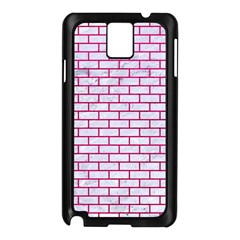Brick1 White Marble & Pink Leather (r) Samsung Galaxy Note 3 N9005 Case (black)