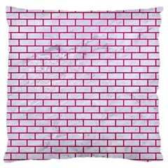 Brick1 White Marble & Pink Leather (r) Large Flano Cushion Case (one Side)