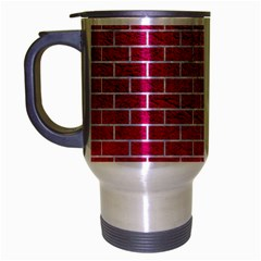 Brick1 White Marble & Pink Leather Travel Mug (silver Gray) by trendistuff