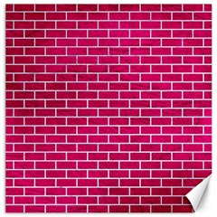 Brick1 White Marble & Pink Leather Canvas 20  X 20