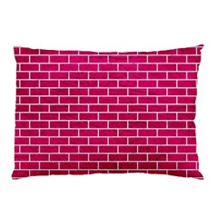 Brick1 White Marble & Pink Leather Pillow Case (two Sides)