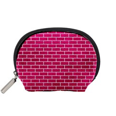 Brick1 White Marble & Pink Leather Accessory Pouches (small)  by trendistuff