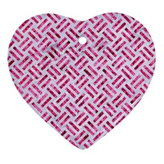 Woven2 White Marble & Pink Marble (r) Ornament (heart)