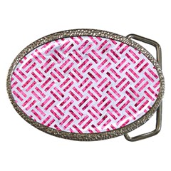 Woven2 White Marble & Pink Marble (r) Belt Buckles
