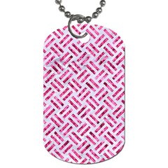 Woven2 White Marble & Pink Marble (r) Dog Tag (one Side)