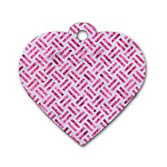 Woven2 White Marble & Pink Marble (r) Dog Tag Heart (two Sides)