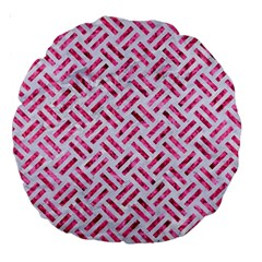 Woven2 White Marble & Pink Marble (r) Large 18  Premium Round Cushions