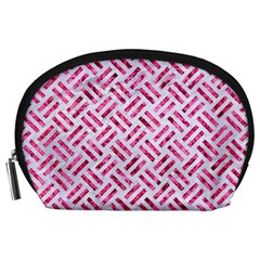 Woven2 White Marble & Pink Marble (r) Accessory Pouches (large)