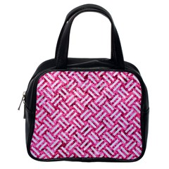 Woven2 White Marble & Pink Marble Classic Handbags (one Side)