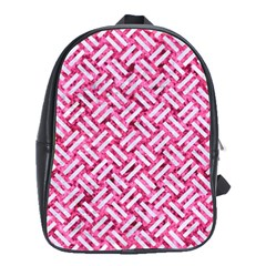 Woven2 White Marble & Pink Marble School Bag (large)