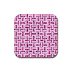 Woven1 White Marble & Pink Marble (r) Rubber Coaster (square)