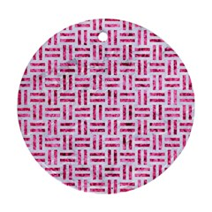 Woven1 White Marble & Pink Marble (r) Round Ornament (two Sides)