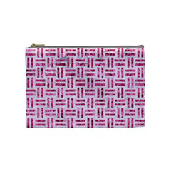 Woven1 White Marble & Pink Marble (r) Cosmetic Bag (medium)