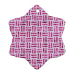 Woven1 White Marble & Pink Marble (r) Ornament (snowflake)