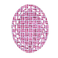 Woven1 White Marble & Pink Marble (r) Ornament (oval Filigree)