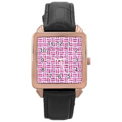 Woven1 White Marble & Pink Marble (r) Rose Gold Leather Watch
