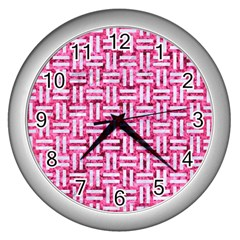 Woven1 White Marble & Pink Marble Wall Clocks (silver)