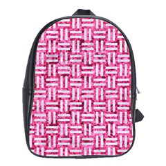 Woven1 White Marble & Pink Marble School Bag (large)