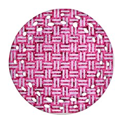 Woven1 White Marble & Pink Marble Round Filigree Ornament (two Sides)