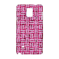 Woven1 White Marble & Pink Marble Samsung Galaxy Note 4 Hardshell Case by trendistuff