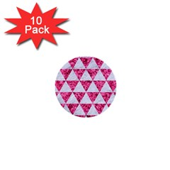 Triangle3 White Marble & Pink Marble 1  Mini Buttons (10 Pack)