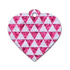 Triangle3 White Marble & Pink Marble Dog Tag Heart (one Side)