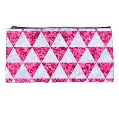 Triangle3 White Marble & Pink Marble Pencil Cases by trendistuff