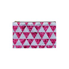 Triangle3 White Marble & Pink Marble Cosmetic Bag (small)