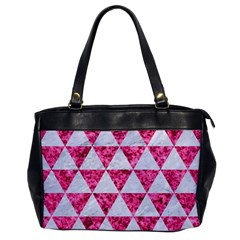 Triangle3 White Marble & Pink Marble Office Handbags