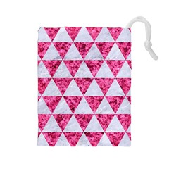Triangle3 White Marble & Pink Marble Drawstring Pouches (large)