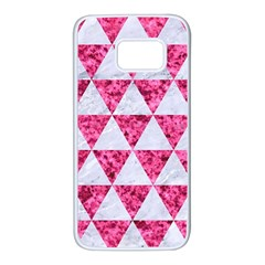 Triangle3 White Marble & Pink Marble Samsung Galaxy S7 White Seamless Case by trendistuff