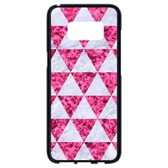 Triangle3 White Marble & Pink Marble Samsung Galaxy S8 Black Seamless Case