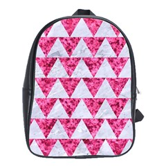 Triangle2 White Marble & Pink Marble School Bag (large)