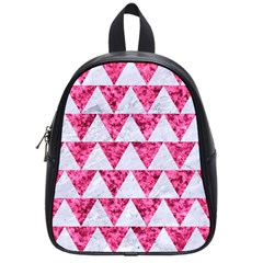 Triangle2 White Marble & Pink Marble School Bag (small)