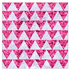 Triangle2 White Marble & Pink Marble Large Satin Scarf (square)