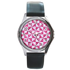 Triangle1 White Marble & Pink Marble Round Metal Watch