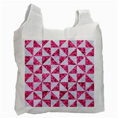 Triangle1 White Marble & Pink Marble Recycle Bag (two Side)