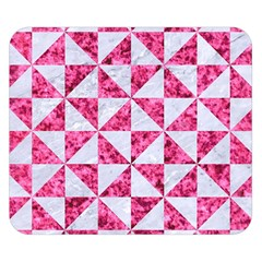 Triangle1 White Marble & Pink Marble Double Sided Flano Blanket (small)