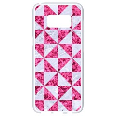 Triangle1 White Marble & Pink Marble Samsung Galaxy S8 White Seamless Case