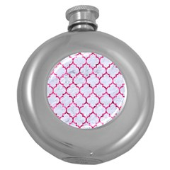 Tile1 White Marble & Pink Marble (r) Round Hip Flask (5 Oz)
