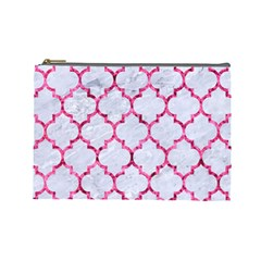 Tile1 White Marble & Pink Marble (r) Cosmetic Bag (large)