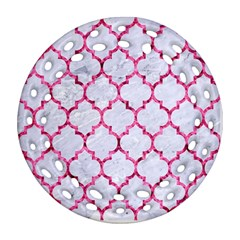 Tile1 White Marble & Pink Marble (r) Ornament (round Filigree) by trendistuff